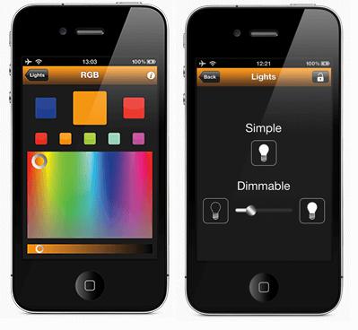 regular color y intensidad desde el móvil